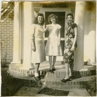 Nancy, Lillian, and Dottie Stand In Front of a Sorority House