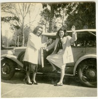 Edie Foster and Julie Bailey Outside a Car