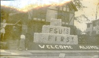 "Homecoming Prop Outside Pi Beta Phi House, ""FSU's First, Welcome Alums"""