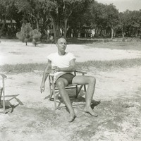 Unidentified Man in Chair at Beach