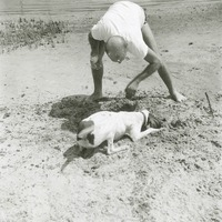 Unidentified Person and Dog at Beach