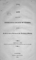 Act passed by the Legislative Council of Florida, entitled An act   to raise a revenue in the Territory of Florida